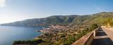 Panorama of city Komiza on island Vis landscape