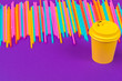 Leinwandbild Motiv Colorful straws for beverage soft drink on colored background