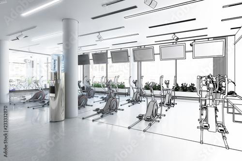 Crosstrainer im Fitness-Zenter (Skizze)
