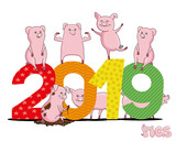 Pig is the symbol of the new year 2019. - 233335043