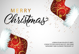 Merry Christmas banner design with red stockings for gifts and confetti. Vector illustration can be used for flyers, posters, greeting cards - 233342251