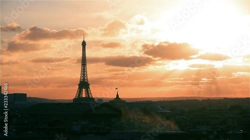 Paris and Eiffel Tower at Sunset (France). View From Lafayette Terrace.