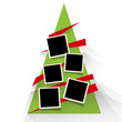 Christmas tree with photos, blank frames. Vector template with pictures to insert