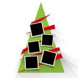 Christmas tree with photos, blank frames. Vector template with pictures to insert - 233343817
