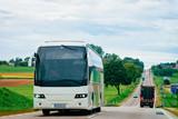 White Tourist bus on road Poland - 233350828