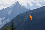 Beautiful landscape with paragliders in Alps, Switzerland. Murren, Lauterbrunnen, Swiss.