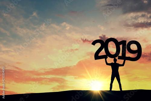 Leinwandbild Motiv Happy new year 2019. New year resolution goals. 3D Rendering
