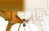 Carroponte con gancio isolato su sfondo bianco, illustrazione 3d, Settore Costruzioni © LaCozza