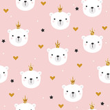 White bear princess with glitter crown seamless pattern. Cute kids print. Vector hand drawn illustration. - 233356450