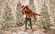 Leinwandbild Motiv Sexy couple celebrating Christmas