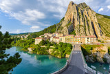 Sisteron and its rock, Provence, France, riverside of durance with houses