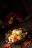 fresh and tasty organic apples in a basket - 233362835