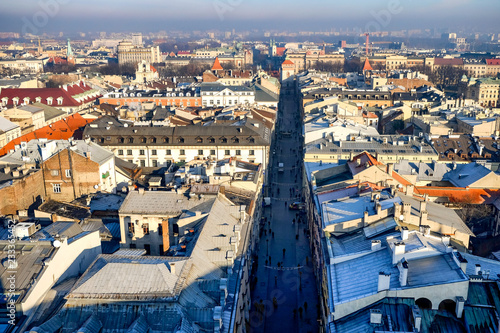 Aerial view from the tower of the church of St. Mary on the Krakow's Old Town, Poland. 10-12-2015 © vlamus