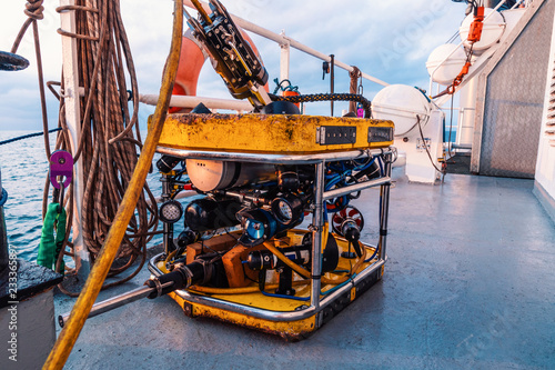 Foto Murales Remote operated vehicle mini ROV on deck of offshore vessel, Diving support operations