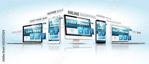 Cyber Monday Online Sale Web Design Concept. Vector