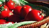 Сherry tomatoes in a wicker basket