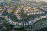 Aerial of Porter Ranch view homes in the San Fernando Valley area of Los Angeles, California. - 233376448