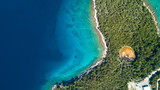 Aerial view of crystal clear water off the coastline in Croatia