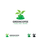 Green Tea logo designs concept vector, Hot Drink logo template - 233380093