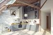modern attic kitchen