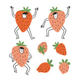 Cute and funny people - strawberries. Set of berries. Vector illustration in hand drawn style. Fruit party collection. - 233384495