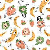 Summer fruit party repeated design for fabric, packing or wallpaper. Vector seamless pattern with strawberry, banana and apple. Food background. - 233384498
