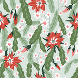 Seamless pattern with tropical flowers and flowering cacti. Beautiful print with hand drawn exotic plants. Green botanical design. Vector illustration. - 233385405