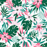 Hawaiian seamless pattern with pink flowers and green leaves. Stylish floral endless print for summer fabric design. Vector illustration. - 233385407