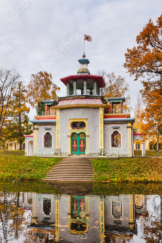 Chinese creaking Gazebo. Autumn. Tsarskoe Selo, Pushkin, Saint Petersburg, Russia.