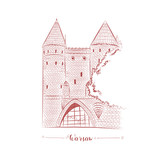 Warsaw fortress in old town hand drawn sketch. European brick castle vector.