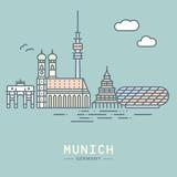 Munich line icon style city skyline vector illustration - 233400885