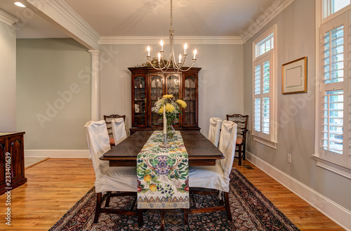 Leinwandbild Motiv Elegant dining room with beautiful furnishings