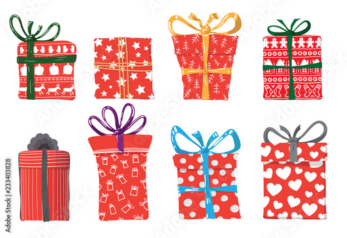 Vector image of holiday gifts for Christmas