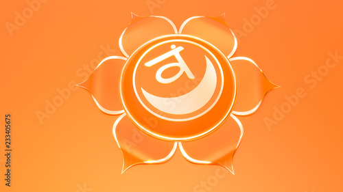 Leinwanddruck Bild Orange Sacral Chakra Svadhistana symbol concept of Hinduism, Buddhism, Ayurveda. Sexuality creativity. 3d rendering