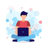 The man works at the laptop in the lotus position. The process of working on the project. Web development concept. Flat vector illustration.