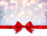 Red Ribbon With Bow On Shiny Silver Background - Christmas Gift