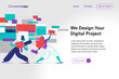 Digital agency homepage template illustration