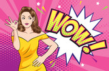 Woman okay gesture action with wow comic bubble