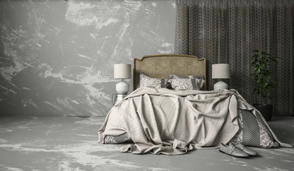 Grey vintage bedroom interior