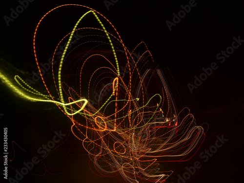 Colored light lines are obtained in the movement. - 233430405