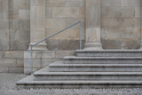 Sandstone stairs with railing and pillar