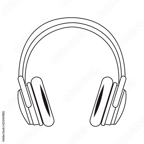 music headphone cartoon black and white