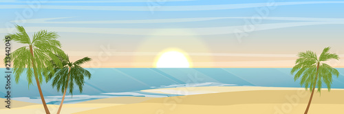 Island in the ocean, a sandy beach and coconut trees. Waves, sea, sea foam. Summer seaside vacation and travel. Vector landscape. - 233442045