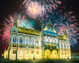Beautiful fireworks above Hungarian Parliament in Budapest - 233443854