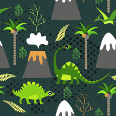 Cute kids dinosaurs pattern for girls and boys. Colorful dinosaurs on the abstract grunge background.. The dinosaurs pattern is made in neon colors. Urban pattern. backdrop for textile and fabric. © mamenkoaleks
