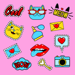 Fashion patch badges with lips, cats, hearts, meow, letter, perfume, camera, speech bubbles,tongue, lipstick and other elements.Set of girlish stickers, patches in cartoon isolated on black background