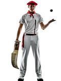 one caucasian Jai alai Basque pelota Cesta Punta player man isolated on white background silhouette - 233453885
