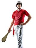 one caucasian Jai alai Basque pelota Cesta Punta player man isolated on white background silhouette - 233454490