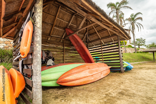 Foto Murales lifeboats on the sand in a specialized place