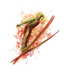 Abstract jumping skier from a splash of watercolor © kapona